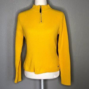 Vintage Tommy Jeans Yellow Zip Long Sleeve Sweater